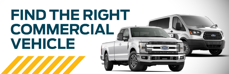 Ford F250 pickup truck and Ford Transit van advertising Ford commercial vehicles